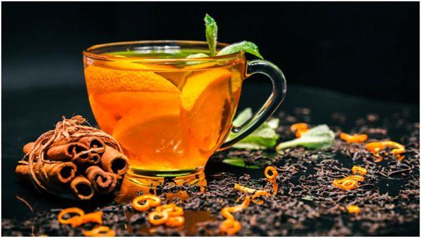 апельсиновый чай с мятой и корицей