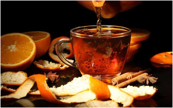 чай и апельсиновый корки