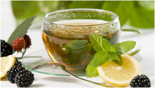 чай с мятой, лимон и ежевика