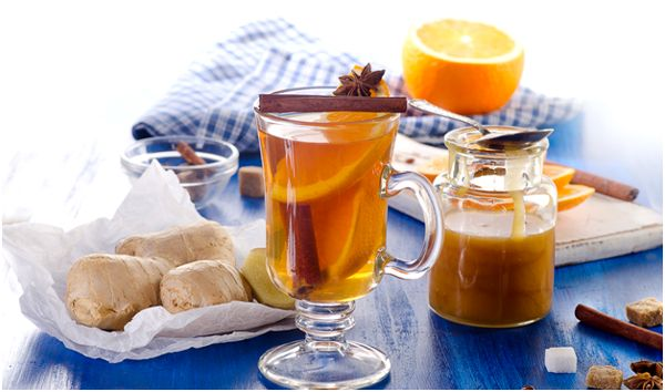 имбирный чай с апельсином в бокале