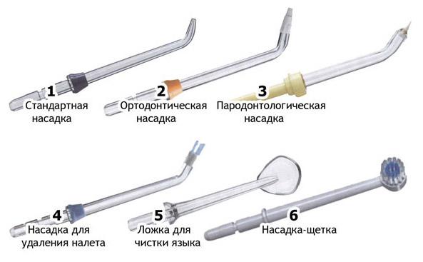 разнообразие насадок для ирригатора