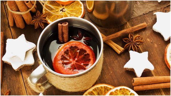 новогодний чай с корицей и апельсином
