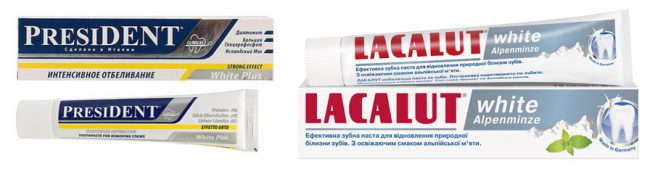 зубные пасты President White Plus и Lacalut White